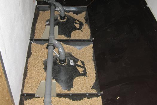 Das WOK-System im Lager der Pelletheizung.